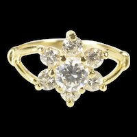 14K Flower Cluster Star Snowflake CZ Statement Ring Size 4 Yellow Gold [QRXS]
