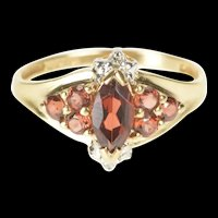 10K Marquise Garnet Cluster Diamond Accent Ring Size 6.75 Yellow Gold [QRXS]