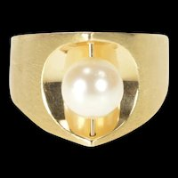 14K Spinner Pearl Pointed Statement Cocktail Ring Size 8.25 Yellow Gold [QRXS]