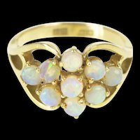 14K Natural Opal Cluster Retro Statement Cocktail Ring Size 6.25 Yellow Gold [QRXP]