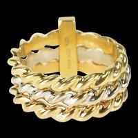18K Tri Tone Twist Pattern Stacking Band Designer Ring Size 6.5 Yellow Gold [QRXP]
