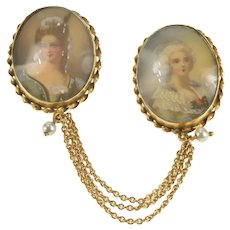 14K Ornate Victorian Painted Lady Portrait Chain Pin/Brooch Yellow Gold [QRQQ]