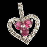 14K Ruby Diamond Halo Heart Anniversary Love Pendant White Gold [QRXP]