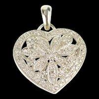 14K Pave Diamond Floral Heart Photo Locket Pendant White Gold [QRXP]