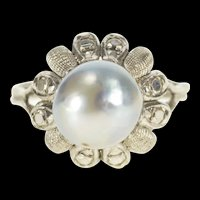 14K 9.5mm Retro Pale Blue Pearl Cocktail Statement Ring Size 7.75 White Gold [QRXP]