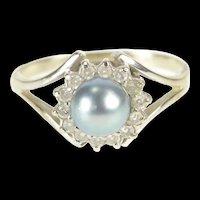 14K Blue Pearl Diamond Halo Cocktail Ring Size 7.5 White Gold [QRXP]