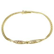 "14K Retro Diamond Twist Loop Fancy Chain Bracelet 7"" Yellow Gold [QRQQ]"