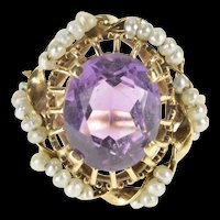 14K Victorian Amethyst Seed Pearl Halo Cocktail Ring Size 7.75 Yellow Gold [QRXP]
