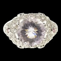 14K Pink Topaz Encrusted Flower Statement Cocktail Ring Size 8 White Gold [QRXP]