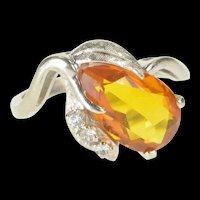 10K 1930's Syn. Citrine Diamond Floral Cocktail Ring Size 6.25 White Gold [QRXP]