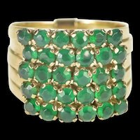 14K Emerald Encrusted Tiered Layered Band Ring Size 6 Yellow Gold [QRXP]