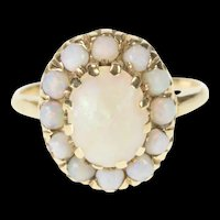 10K Victorian Natural Opal Oval Halo Cocktail Ring Size 7.75 Yellow Gold [QRXW]