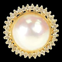 14K 12.9mm Pearl Diamond Halo Statement Cocktail Ring Size 6.5 Yellow Gold [QRXW]