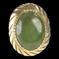 14K Green Nephrite Jade 1940's Cocktail Statement Ring Size 7.75 Yellow Gold [QRXW]