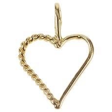 14K Twist Pattern Heart Love Symbol Valentine Charm/Pendant Yellow Gold  [QRXC]