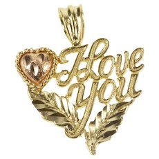 14K I Love You Leaf Design Heart Valentine Charm/Pendant Yellow Gold  [QRXC]