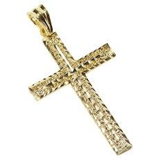 14K Grooved Textured Pattern Cross Christian Faith Pendant Yellow Gold [QRXR]