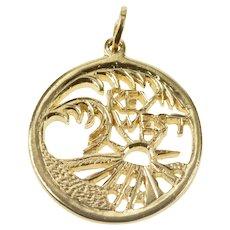 14K Round Key West Palm Tree Tropical Souvenir Pendant Yellow Gold [QRXR]
