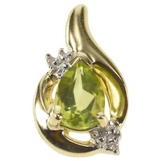 10K Pear Cut Peridot Diamond Accent Fashion Pendant Yellow Gold [QRXR]