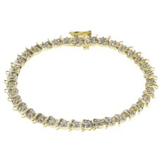 "10K Diamond Inset Wavy Link Burst Tennis Bracelet 7"" Yellow Gold [QRXR]"