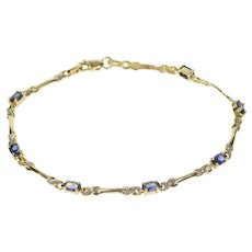 "10K Oval Synthetic Sapphire Diamond Accent Bracelet 7.25"" Yellow Gold  [QRXC]"