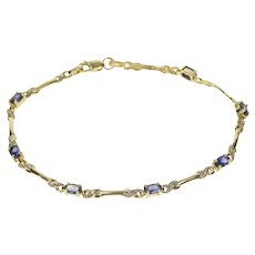 "10K Oval Synthetic Sapphire Diamond Accent Bracelet 7.25"" Yellow Gold [QRQQ]"