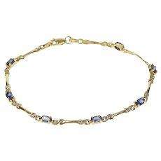 "10K Oval Synthetic Sapphire Diamond Accent Bracelet 7.25"" Yellow Gold [QRXR]"