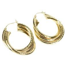 14K Grooved Pattern Twist Design Fashion Hoop Earrings Yellow Gold [QRQC]
