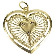 14K Retro Scroll Filigree Heart Love Valentine Charm/Pendant Yellow Gold [QRXR]