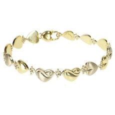 "14K Satin Finish Two Tone Puffy Heart Link Chain Bracelet 7.75"" Yellow Gold [QRXR]"