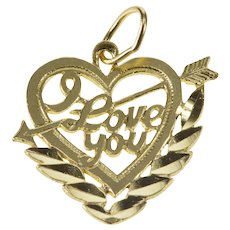 14K I Love You Arrow Through Heart Valentine Charm/Pendant Yellow Gold  [QRXF]