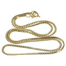 """14K 1.7mm Pressed Squared Link Fashion Chain Necklace 18"""" Yellow Gold [QRQC]"""