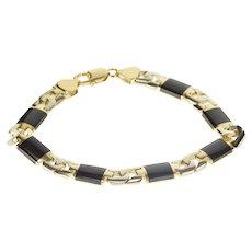 """14K Two Tone Black Onyx Men's HEAVY Fashion Bracelet 8.75"""" Yellow Gold [QRXR]"""