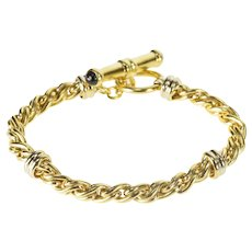 "18K 6.2mm Wheat Palma Toggle Chain Link Bracelet 7.5"" Yellow Gold  [QRXF]"