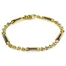 "10K Black Onyx Inlay Men's Fashion Chain Bracelet 8"" Yellow Gold [QRXR]"
