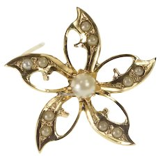 10K Victorian Ornate Seed Pearl Flower Floral Pin/Brooch Yellow Gold [QRQC]