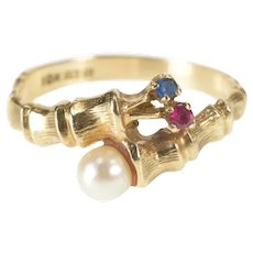 10K Retro Pearl Bamboo Bypass Wrap Fashion Ring Size 6.5 Yellow Gold [QRQC]