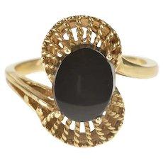 10K Oval Black Onyx Inset Retro Swirl Filigree Ring Size 6.75 Yellow Gold [QRQC]