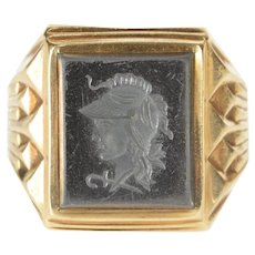 10K Carved Hematite Intaglio Men's Fashion Ring Size 9 Yellow Gold [QRXR]
