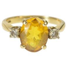 14K Citrine Diamond Alternative Engagement Ring Size 5.25 Yellow Gold [QRQC]