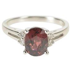 14K Oval Tourmaline Diamond Accent Engagement Ring Size 7.25 White Gold [QRQC]