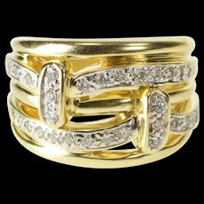 14K 0.50 Ctw Diamond Woven Tiered Fashion Band Ring Size 6 Yellow Gold [QRXR]