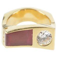 14K Retro Syn. Ruby CZ Wavy Squared Men's Fashion Ring Size 8.75 Yellow Gold [QRXR]