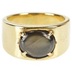 18K Men's Oval Black Sapphire Retro Fashion Band Ring Size 9.75 Yellow Gold [QRXR]