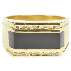 14K Men's Black Onyx Diamond Squared Fashion Ring Size 10.25 Yellow Gold [QRXR]