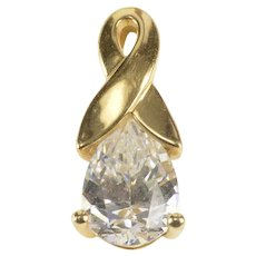 14K Pear CZ Cubic Zirconia Solitaire Ribbon Loop Pendant Yellow Gold [QRQC]