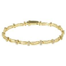 "14K 1.00 Ctw Diamond Inset Curved Bar Link Tennis Bracelet 7"" Yellow Gold [QRXR]"