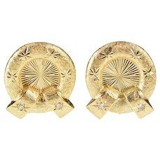 14K Diamond Retro Pattern Textured Wreath Clip Earrings Yellow Gold [QRQC]