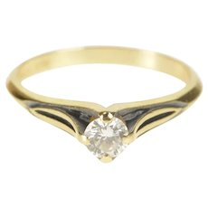14K 0.25 Ct Ornate Diamond Solitaire Engagement Ring Size 5.75 Yellow Gold [QRQC]