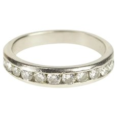 Platinum Channel Inset Classic Diamond Wedding Band Ring Size 4.5  [QRQC]